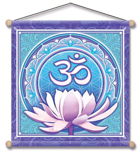OM FLOWER TEMPLE MEDITATION BANNER WALL HANGING