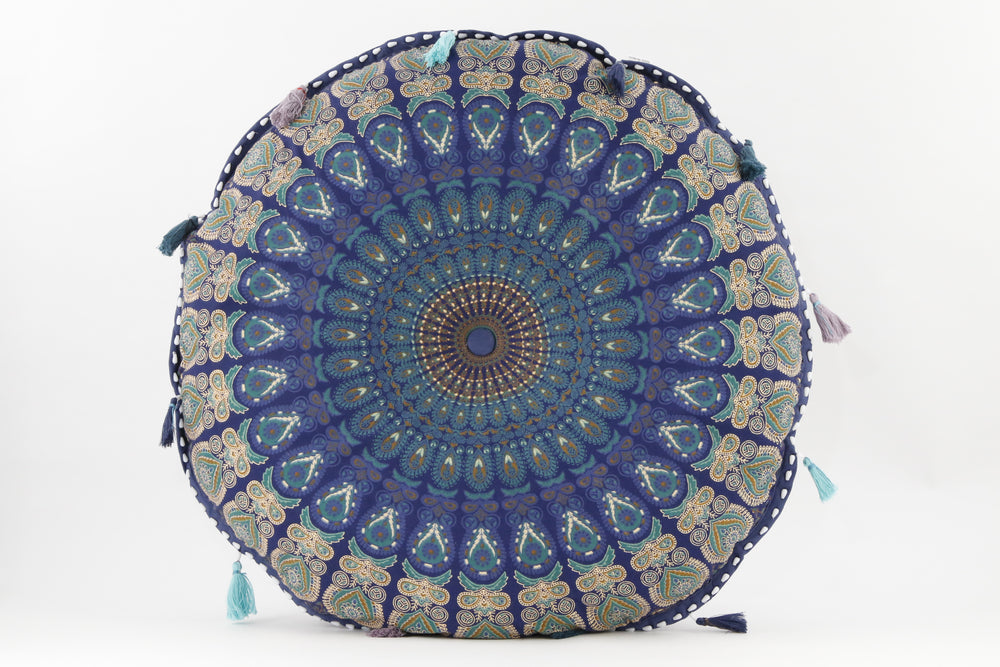 MANDALA BLUE _TEAL MEDITATION PILLOW ROUND FRONT VIEW