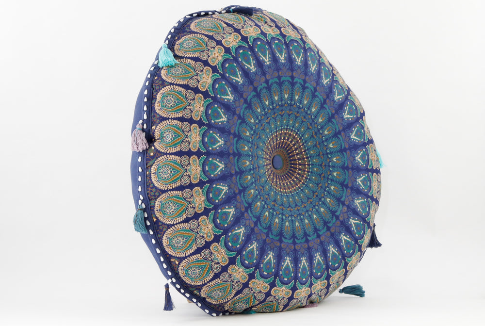 MANDALA BLUE _TEAL MEDITATION PILLOW SIDE VIEW