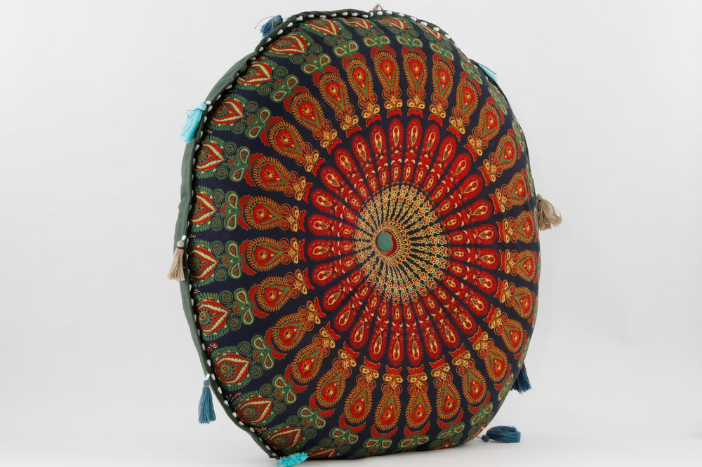 MANDALA  GREEN_RED MEDITATION PILLOW SIDE VIEW