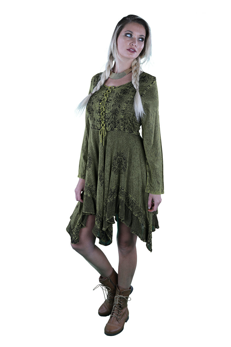 LACE-UP MEDIEVAL MIDI DRESS OLIVE GREEN