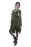 LACE-UP MEDIEVAL STYLE DRESS SHORT LENGTH OLIVE GREEN