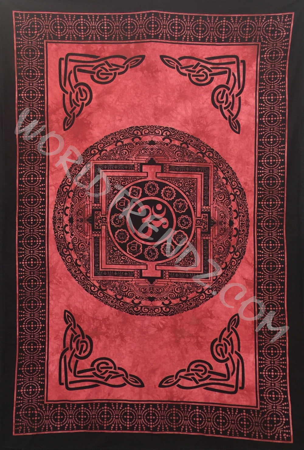 OM CHAKRA TAPESTRY RED