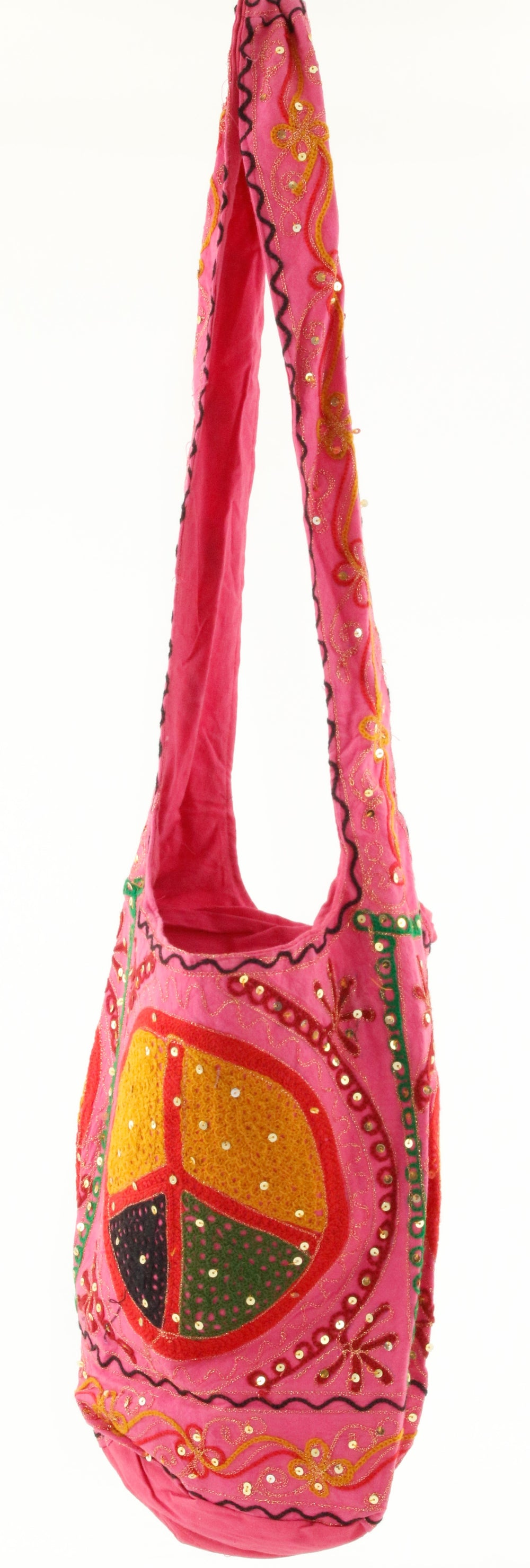 PEACE SIGN SEQUINED BAG PINK