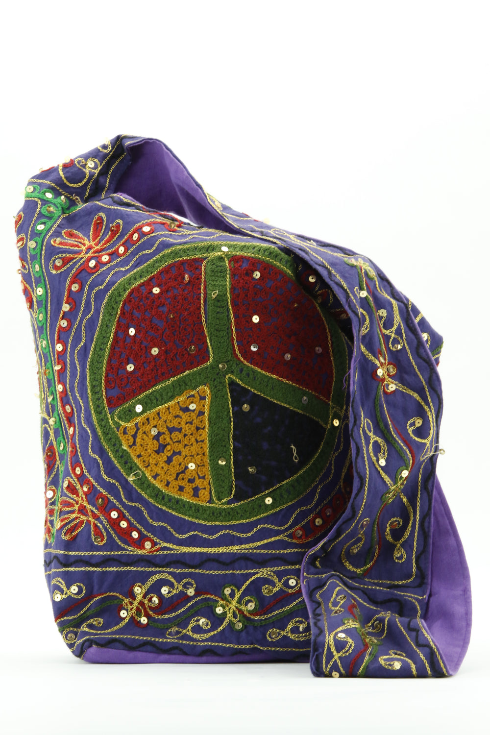 PEACE SIGN SEQUINED BAG PURPLE