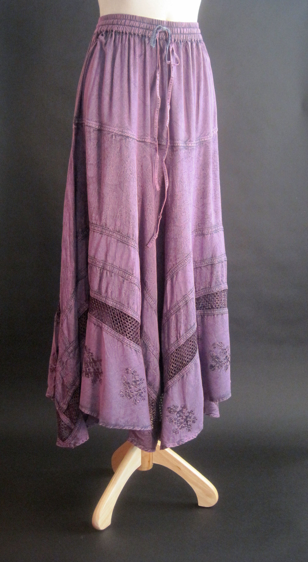 SOLID RAYON FLAIR SKIRT PURPLE