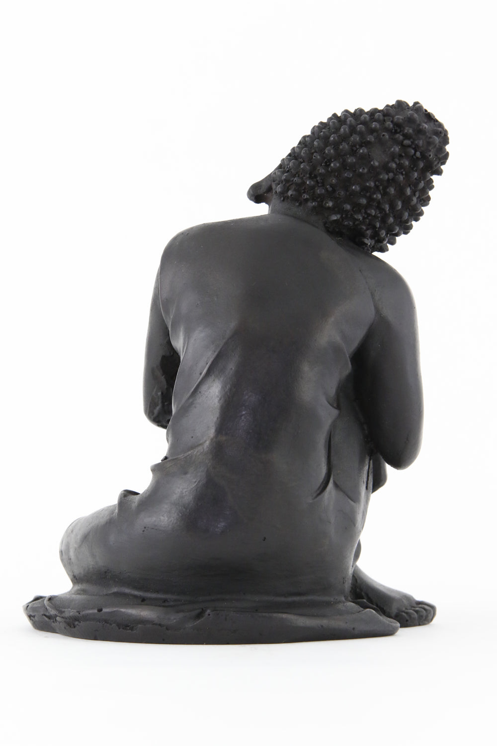 RESTING BUDDHA STATUE DARK LARGE BACK VIEW