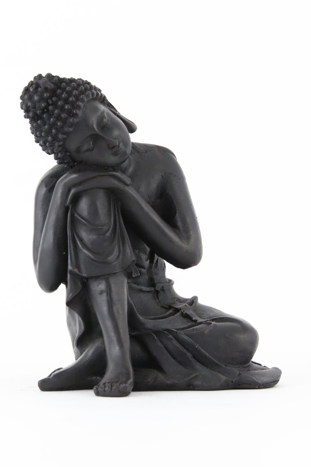 RESTING BUDDHA STATUE DARK LARGE SIDE VIEW