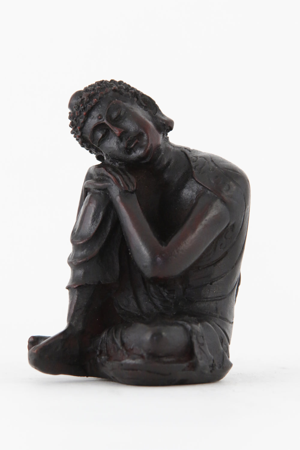 RESTING BUDDHA STATUE DARK SMALL SIDE VIEW