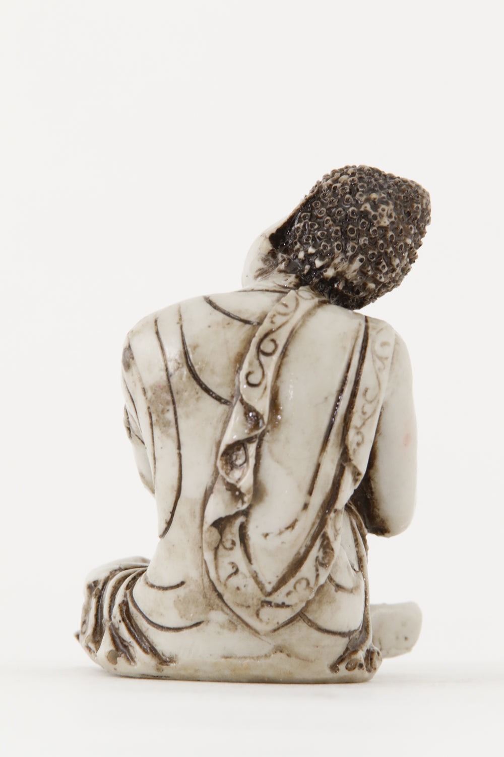 RESTING BUDDHA STATUE OFF-WHITE SMALL BACK VIEW