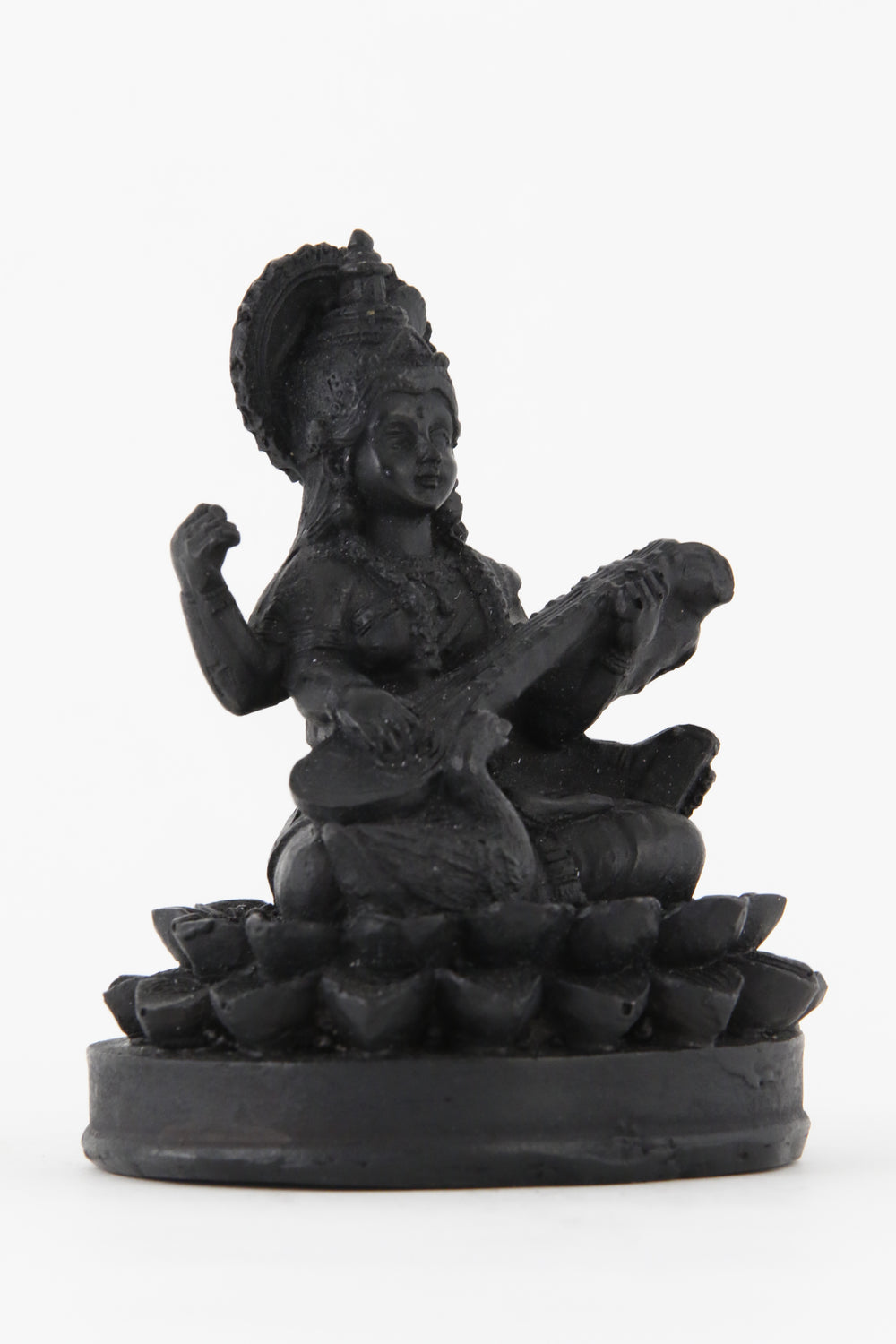 GODDESS SARASWATI STATUE DARK SMALL SIZE SIDE VIEW