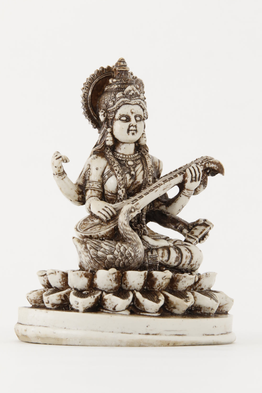 GODDESS SARASWATI STATUE OFF-WHITE LARGE SIZE SIDE VIEW