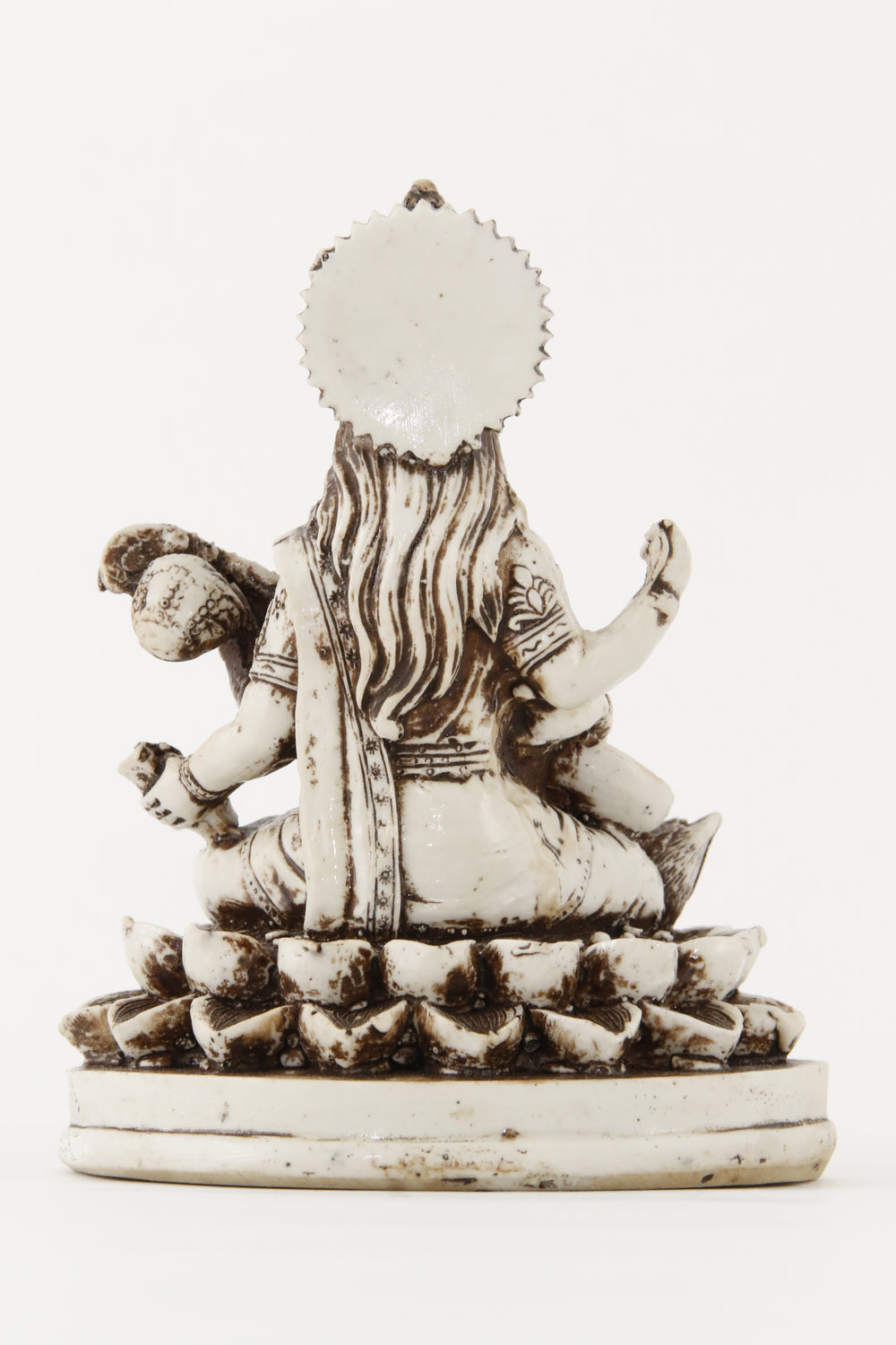 GODDESS SARASWATI STATUE OFF-WHITE LARGE SIZE BACK VIEW