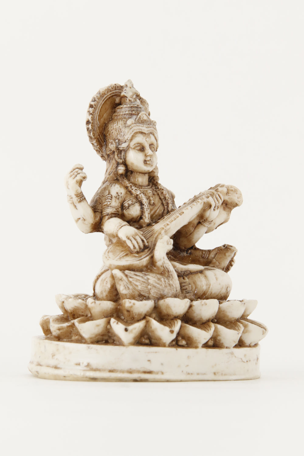 GODDESS SARASWATI STATUE OFF-WHITE SMALL SIZE SIDE VIEW