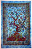 SPRING TREE OF LIFE TAPESTRY TIGHT WEAVE TURQUOISE