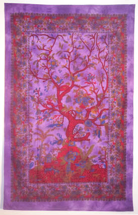 SPRING TREE OF LIFE TAPESTRY TIGHT WEAVE PURPLE