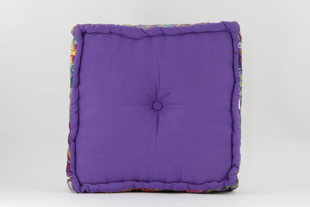 MEDITATION CUSHION PURPLE EMBROIDERED SQUARE BACK VIEW