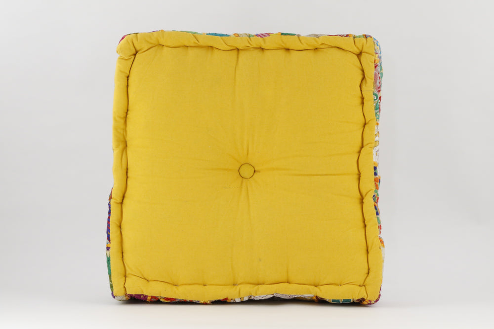 MEDITATION CUSHION YELLOW EMBROIDERED SQUARE BACK VIEW