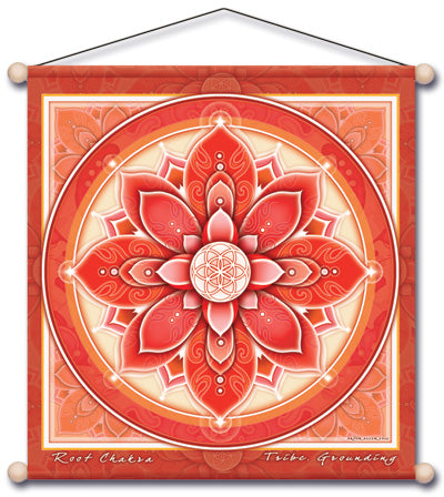 ROOT CHAKRA RED MEDITATION TEMPLE BANNER WALL HANGING