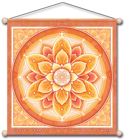 SACRAL CHAKRA ORANGE MEDITATION TEMPLE BANNER WALL HANGING