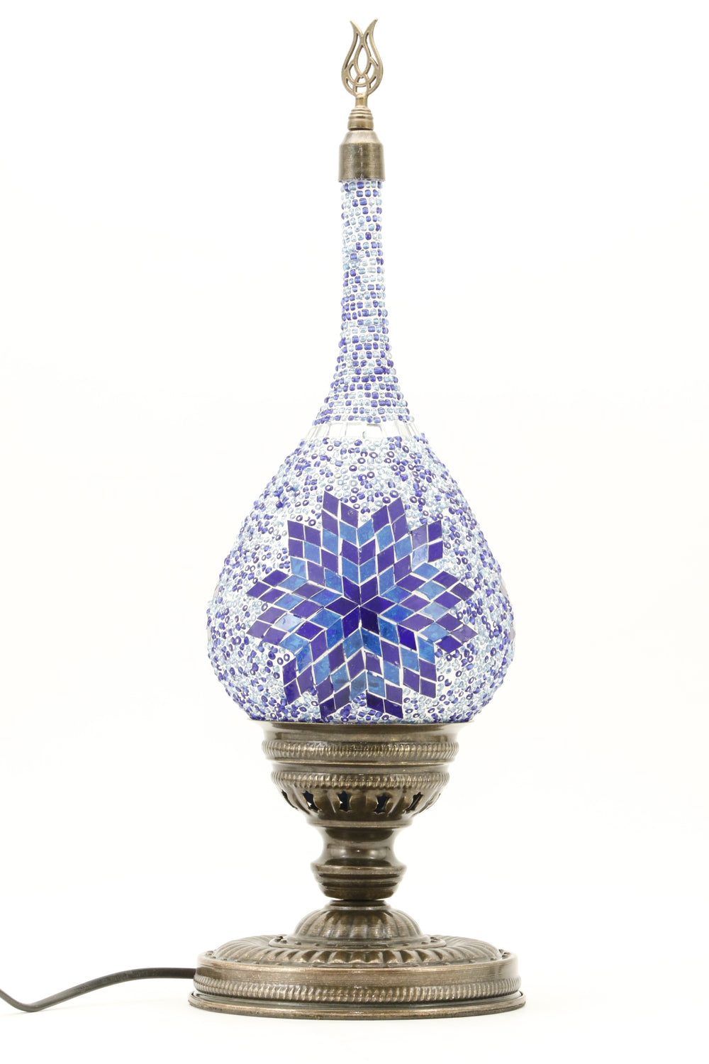 TEAR DROP SHAPED TURKISH MOSAIC TABE LAMP BLUE-TURNED OFF