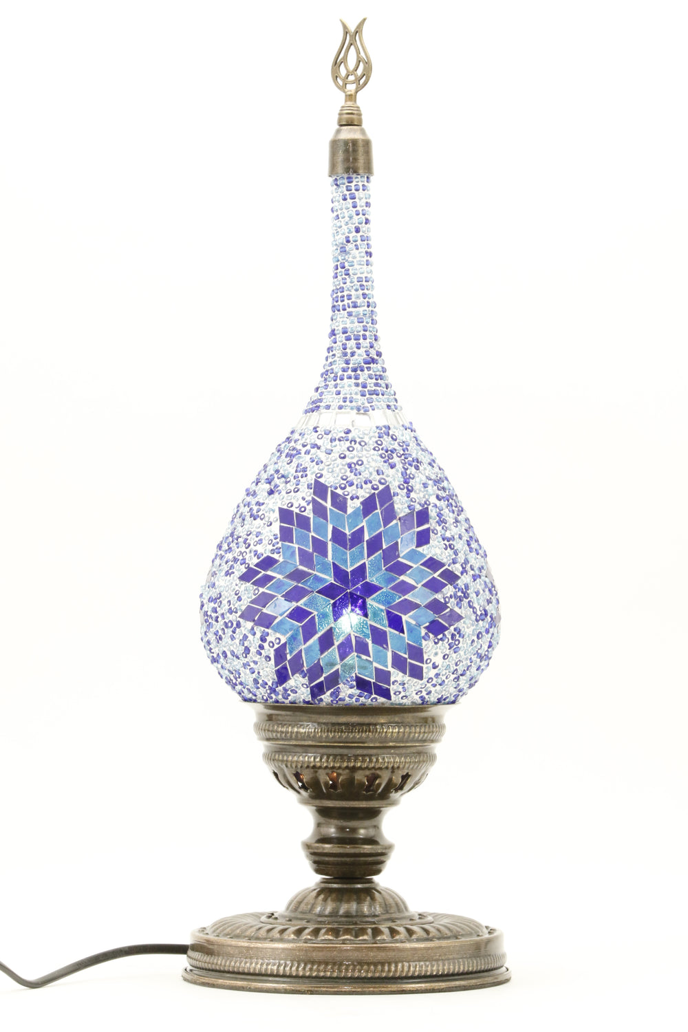 TEAR DROP SHAPED TURKISH MOSAIC TABE LAMP BLUE-TURNED ON