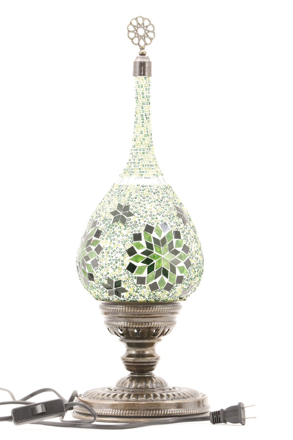 TEAR DROP SHAPED TURKISH MOSAIC TABE LAMP GREEN-TURNED OFF