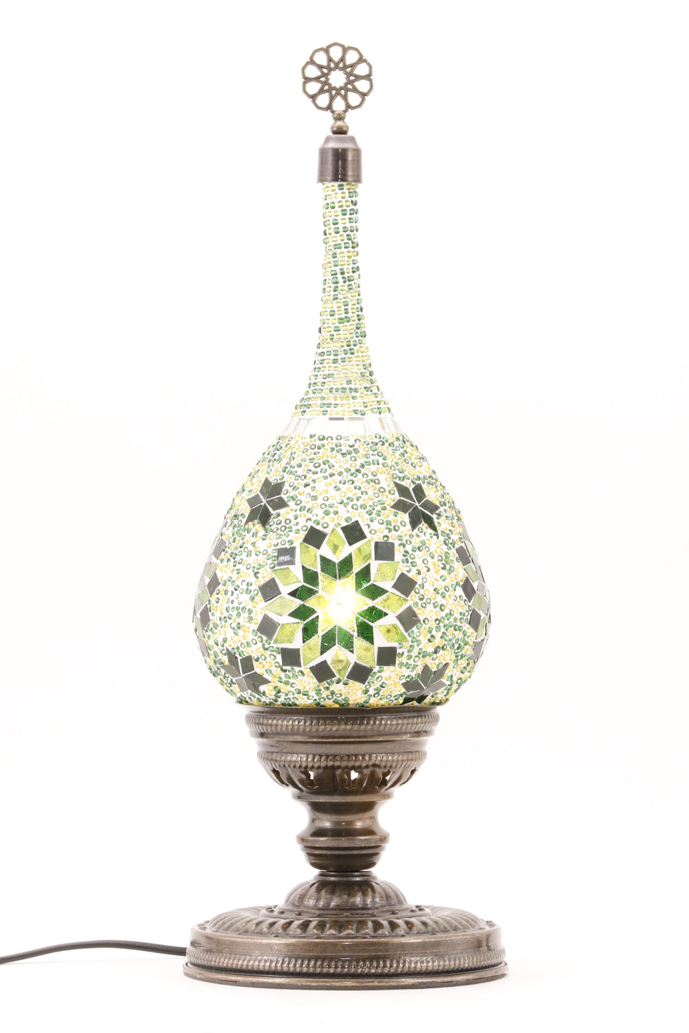 TEAR DROP SHAPED TURKISH MOSAIC TABE LAMP GREEN-TURNED ON