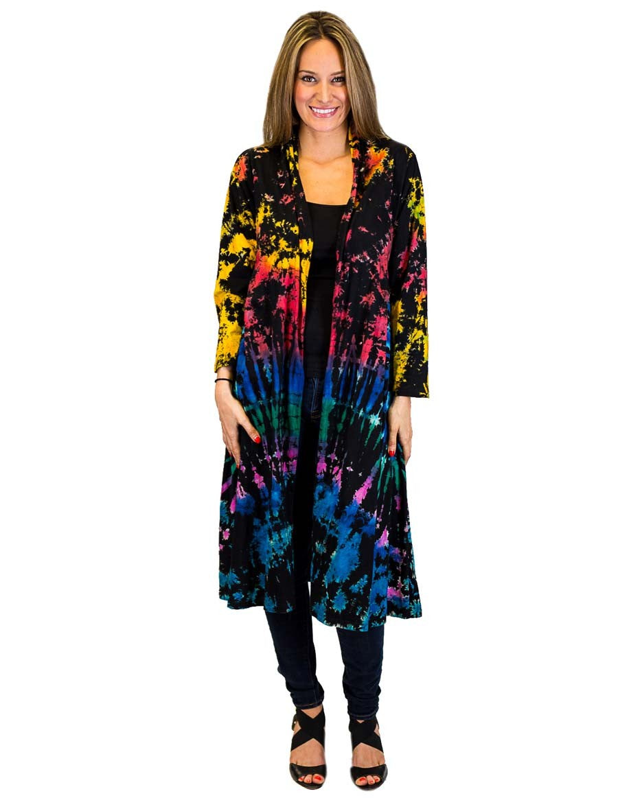FULL TIE DYE DUSTER WITH POCKETS BLACK RAINBOW