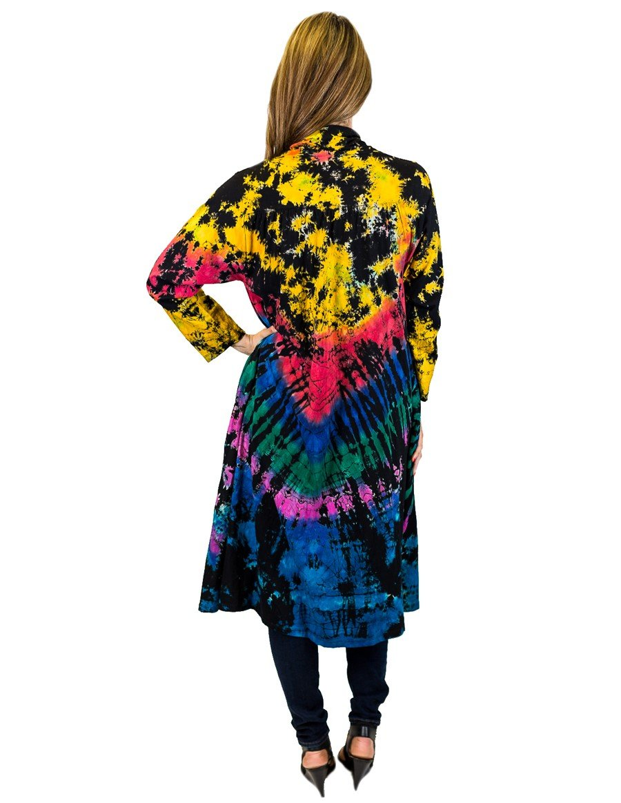 FULL TIE DYE DUSTER WITH POCKETS BLACK RAINBOW BACK
