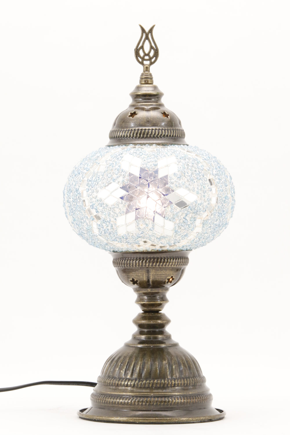 TURKISH MOSAIC TABLE LAMP MB3 BLUE-TURNED ON