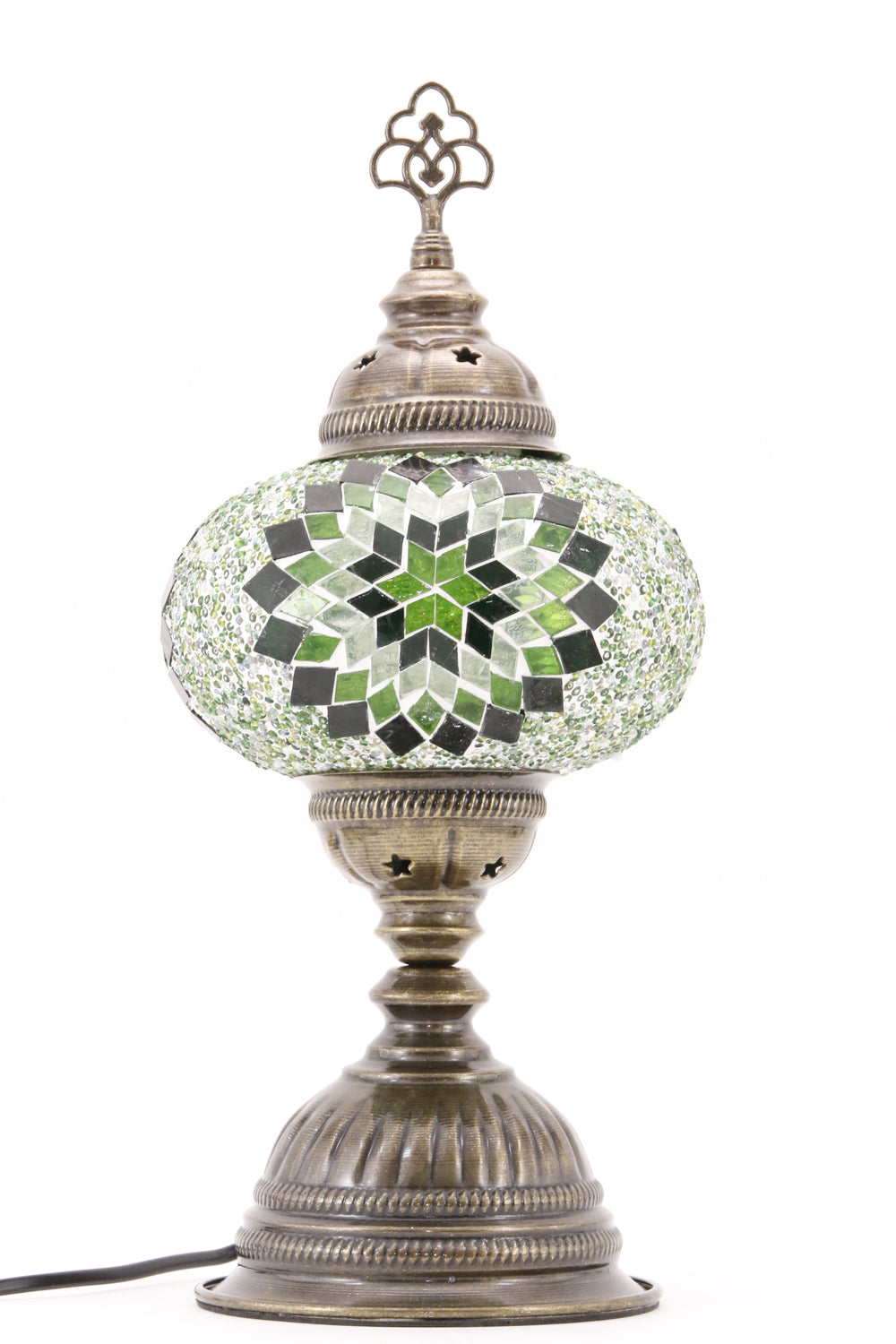 TURKISH MOSAIC TABLE LAMP MB3 GREEN-TURNED OFF
