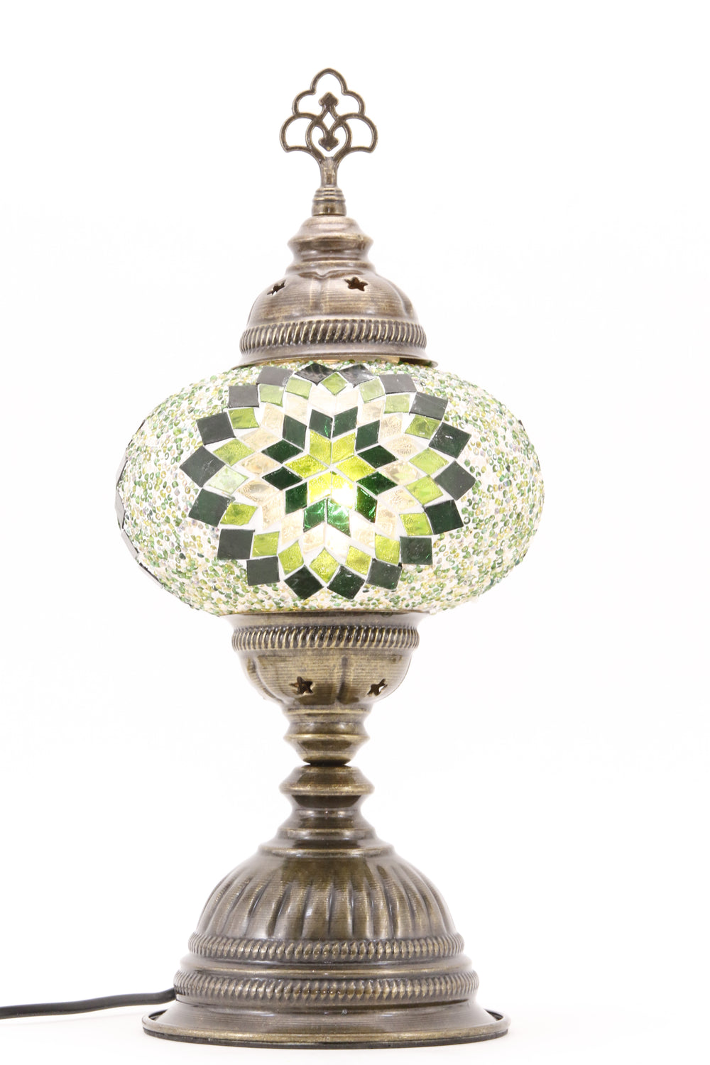 TURKISH MOSAIC TABLE LAMP MB3 GREEN-TURNED ON