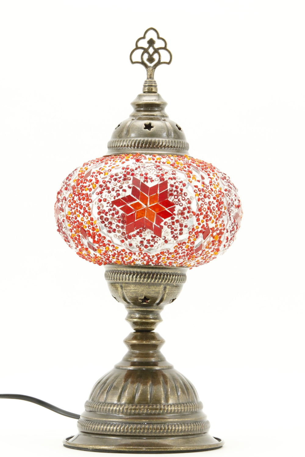 TURKISH MOSAIC TABLE LAMP MB3 ORANGE-TURNED OFF