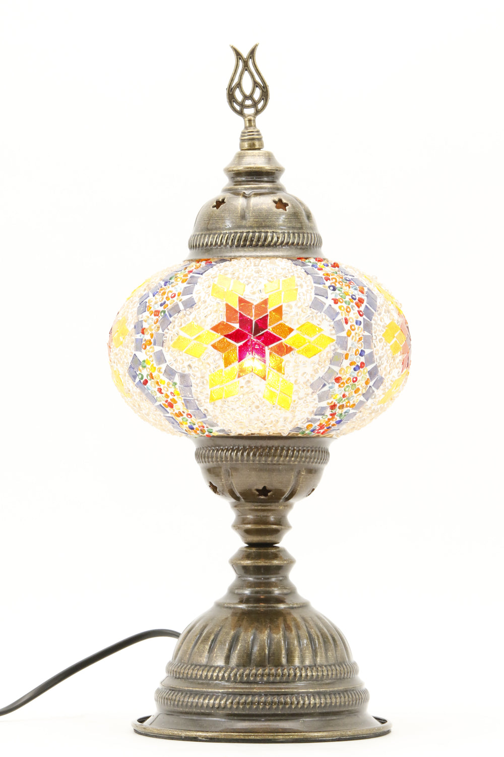 TURKISH MOSAIC TABLE LAMP MB3 RAINBOW-TURNED ON