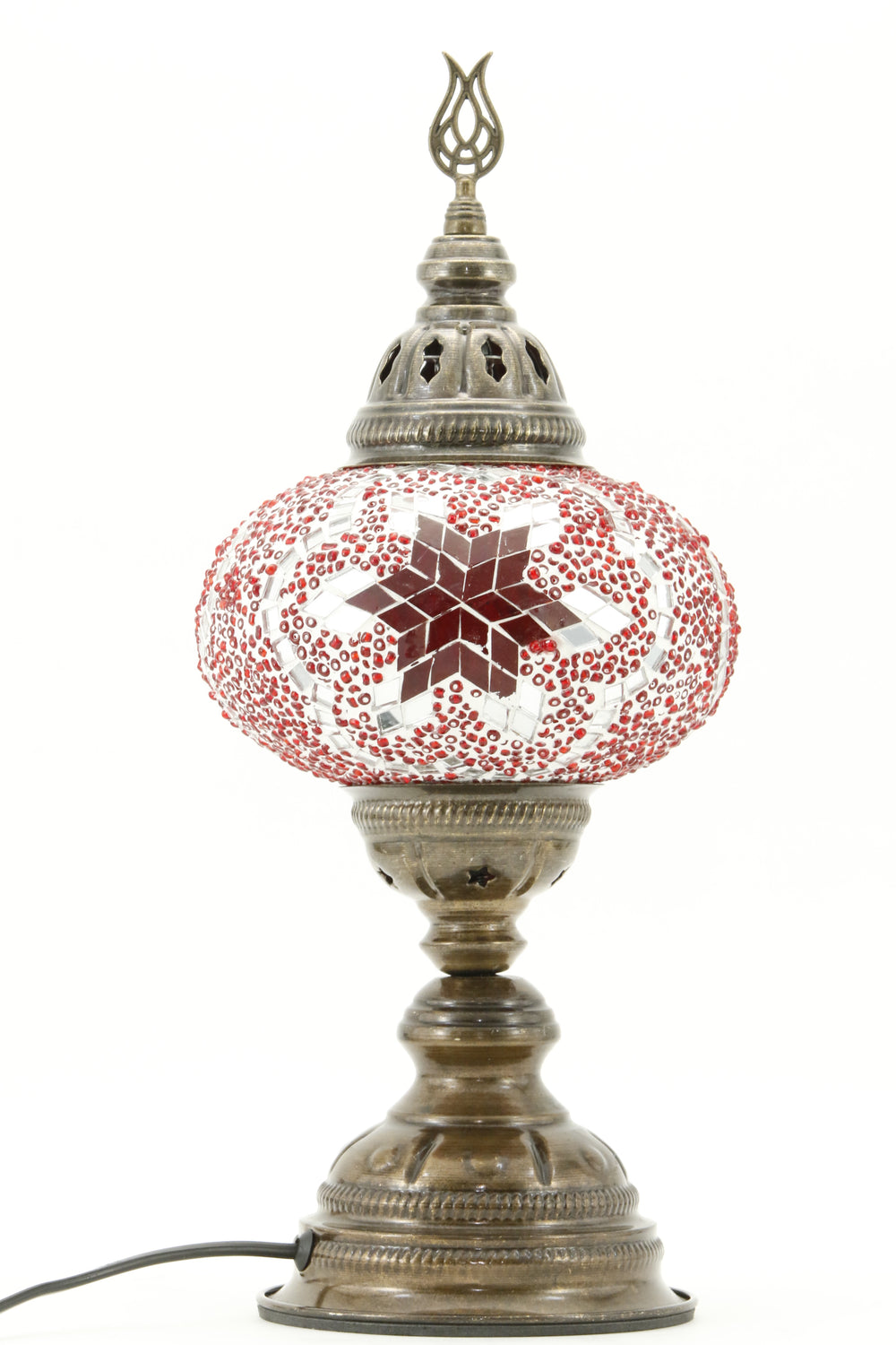 TURKISH MOSAIC TABLE LAMP MB3 RED-TURNED OFF