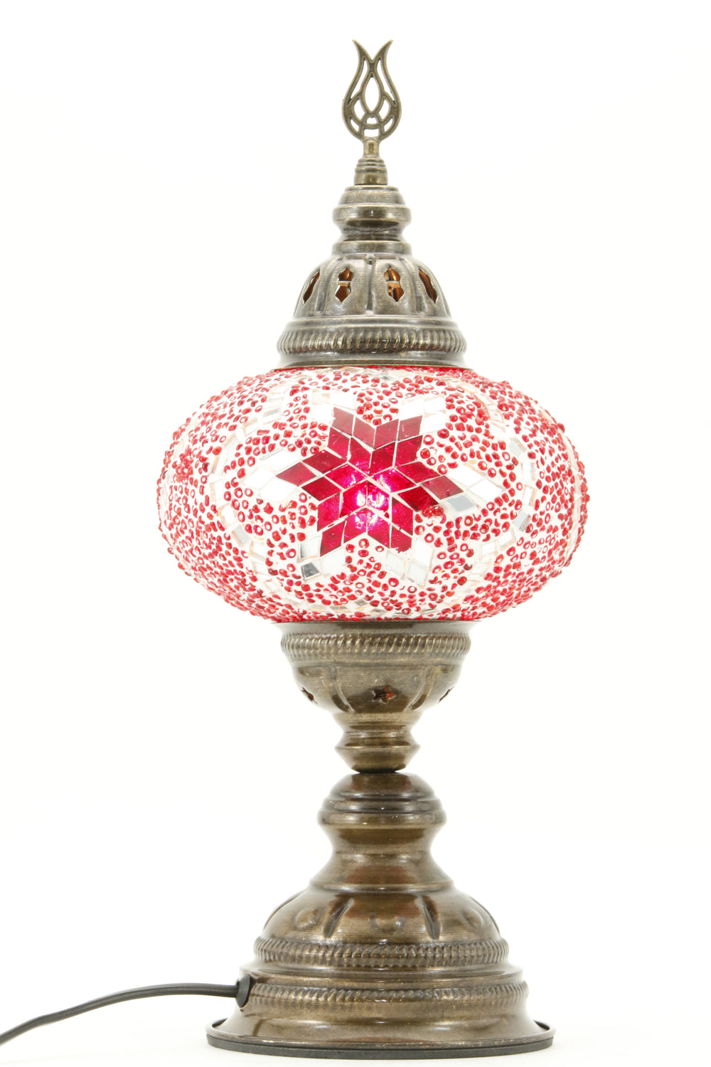 TURKISH MOSAIC TABLE LAMP MB3 RED-TURNED ON