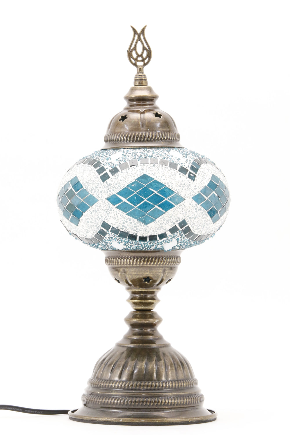 TURKISH MOSAIC TABLE LAMP MB3 TEAL-TURNED OFF