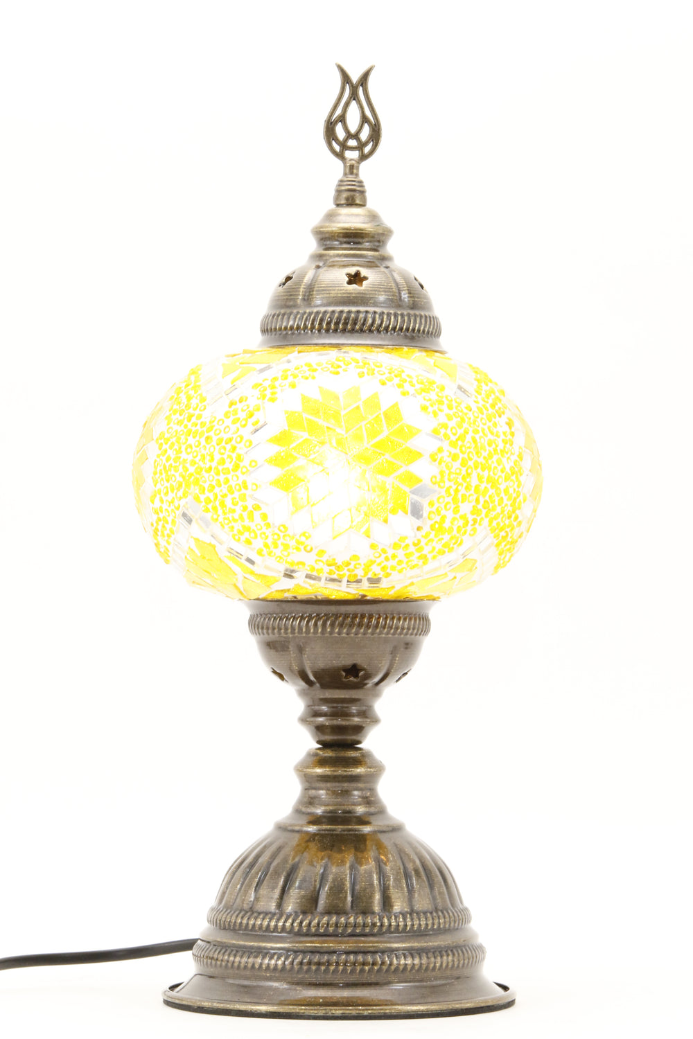 TURKISH MOSAIC TABLE LAMP MB3 YELLOW-TURNED ON