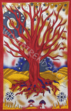 TREE OF LIFE SUN MOON STARS TAPESTRY RED