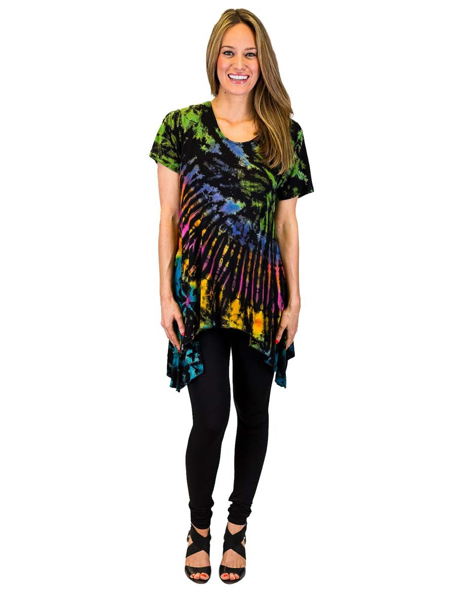 TIE DYE TUNIC TOP SIDE SAIL RAINBOW