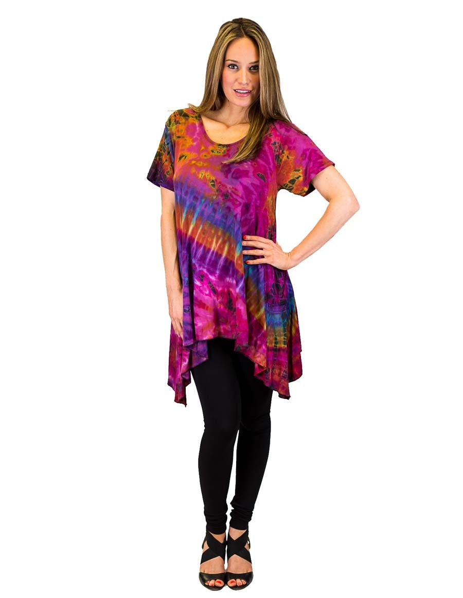 TIE DYE TUNIC TOP SIDE SAIL PURPLE