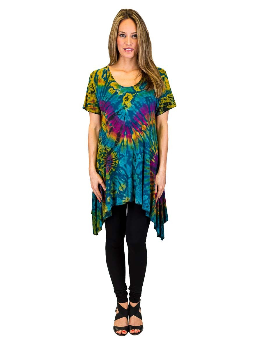 TIE DYE TUNIC TOP SIDE SAIL TEAL