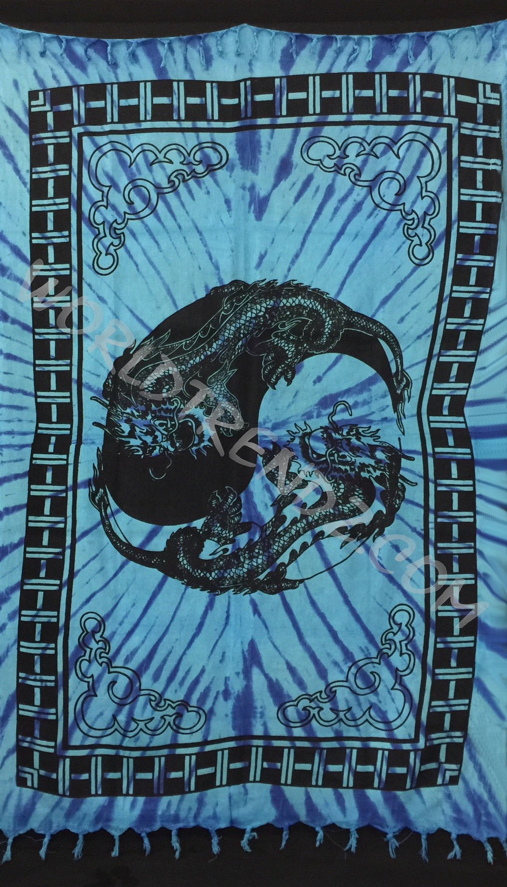 YIN YAG DRAGON TASSELS TAPESTRY TURQUOISE
