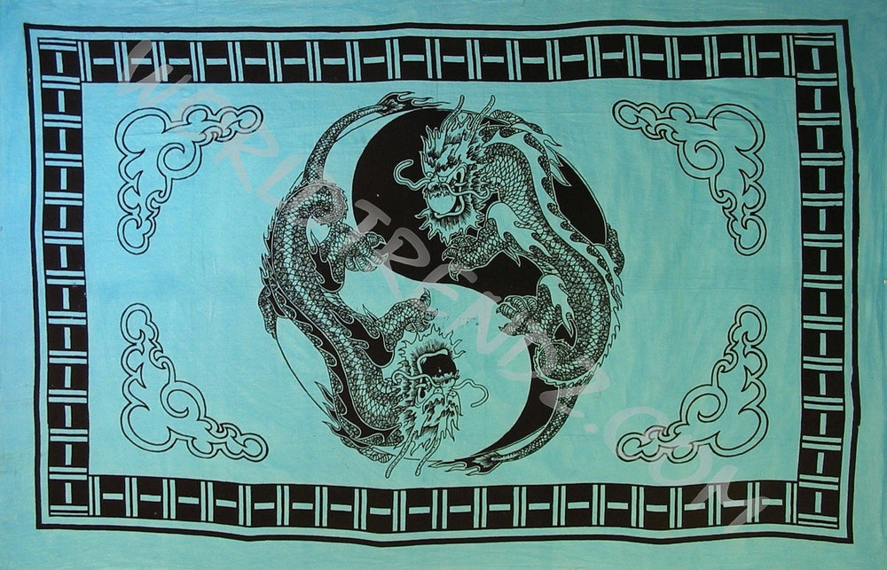 YIN  YANG DRAGON NO TASSELS TAPESTRY TURQUOISE