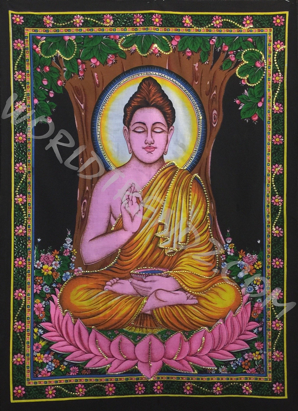 DEITY TAPESTRY SEQUINED BUDDHA BLESSING