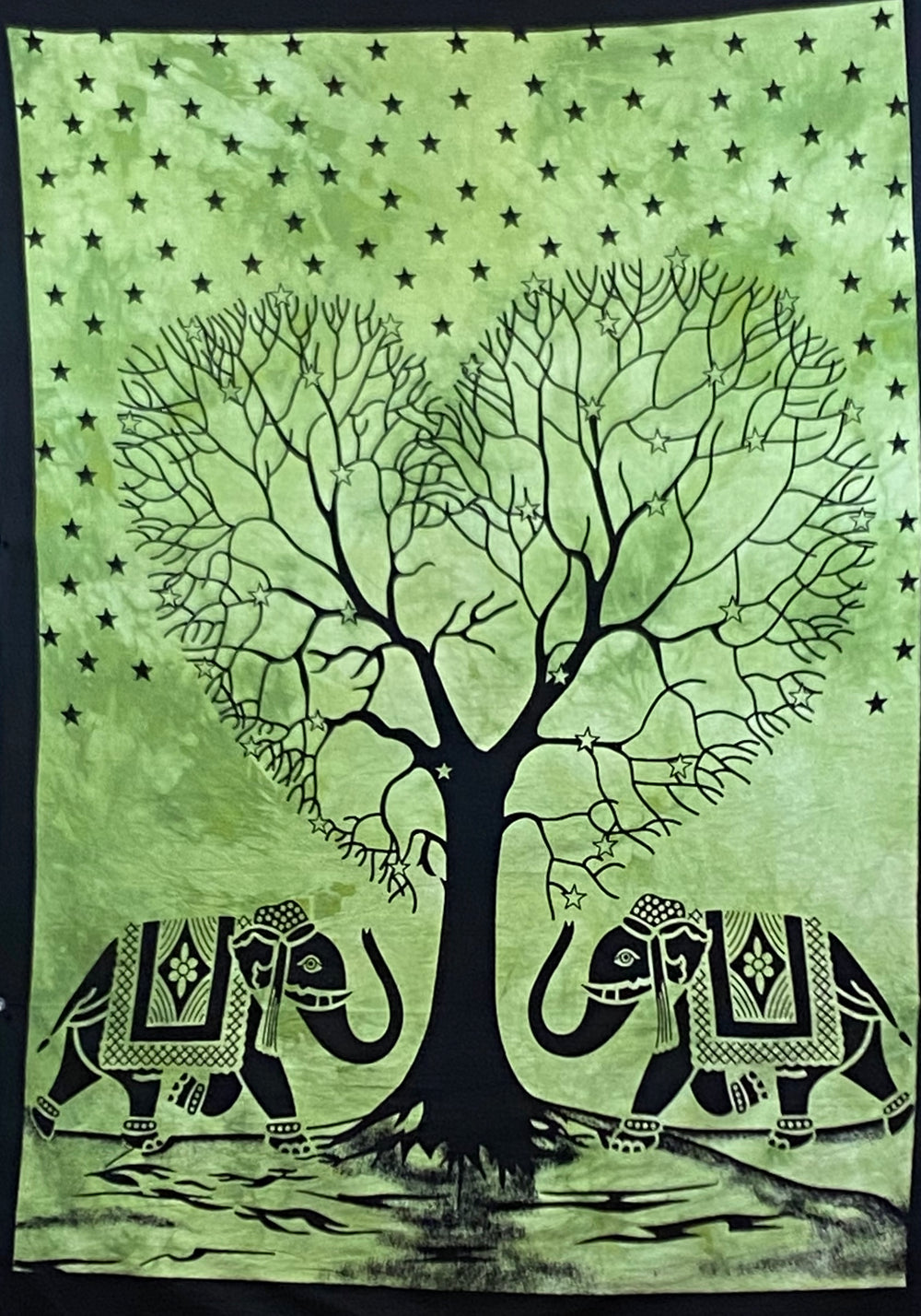 HEART SHAPE TREE OF LIFE TAPESTRY POSTER SIZE GREEN