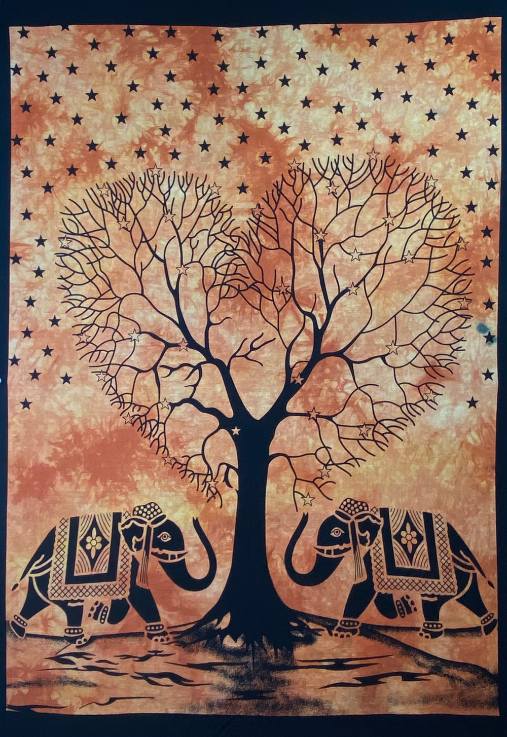 HEART SHAPE TREE OF LIFE TAPESTRY POSTER SIZE ORANGE