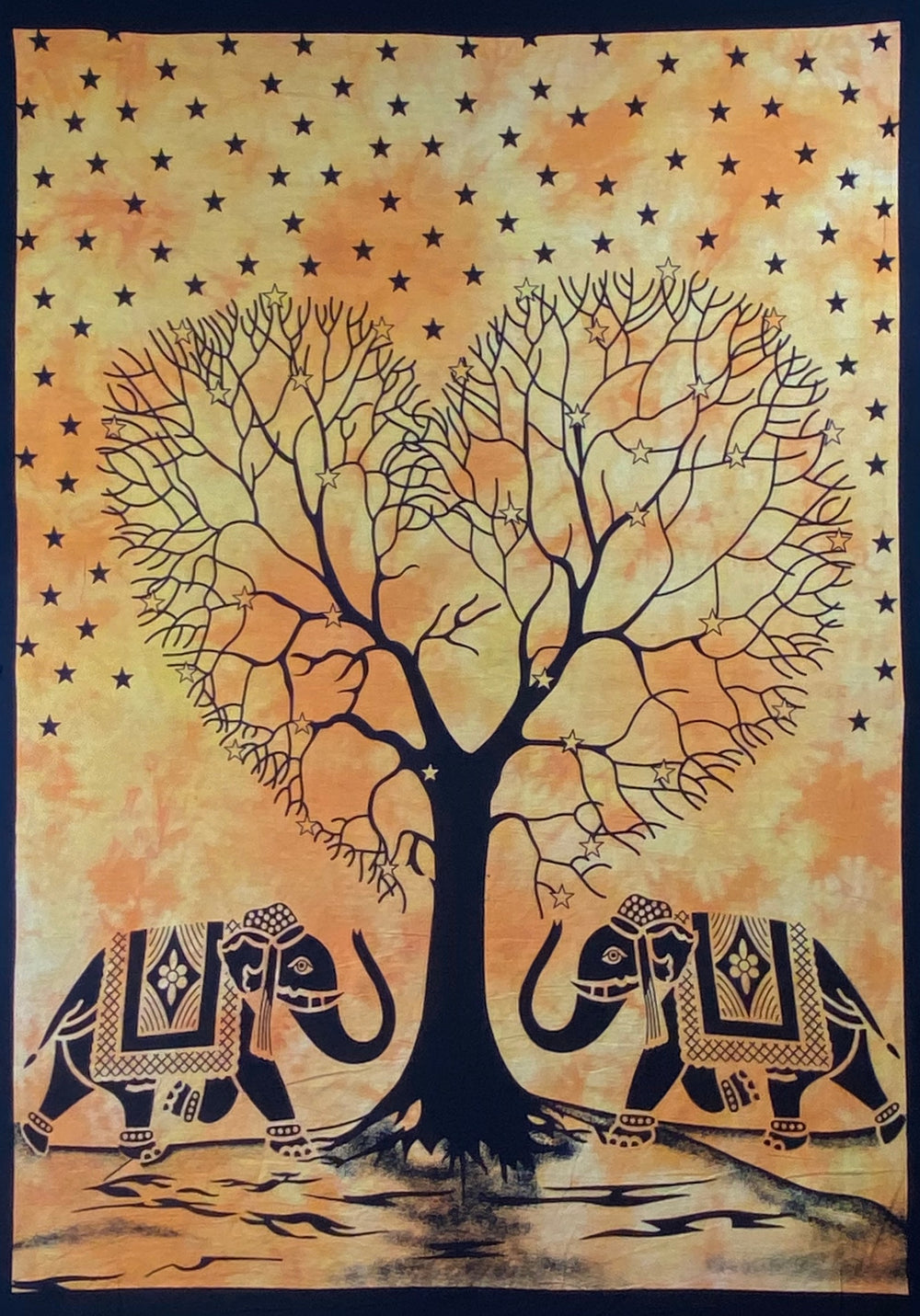 HEART SHAPE TREE OF LIFE TAPESTRY POSTER SIZE YELLOW