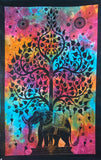 ELEPHANT BODHI TREE TAPESTRY POSTER BLACK-RAINBOW BACKGROUND